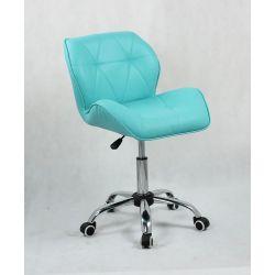 Kosmetická židle HC-111K tyrkys na kolečkách (V)