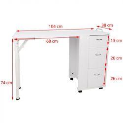 Skládací kosmetický stolek AZZURRO 2051 bílý