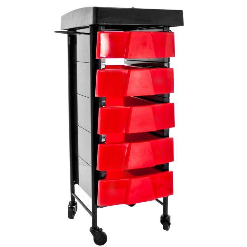 Kadeřnický vozík 008 TIMER černo-červený