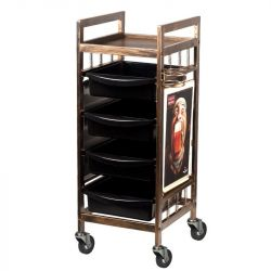 Pojízdný kadeřnický stolek 8-139 - staré zlato