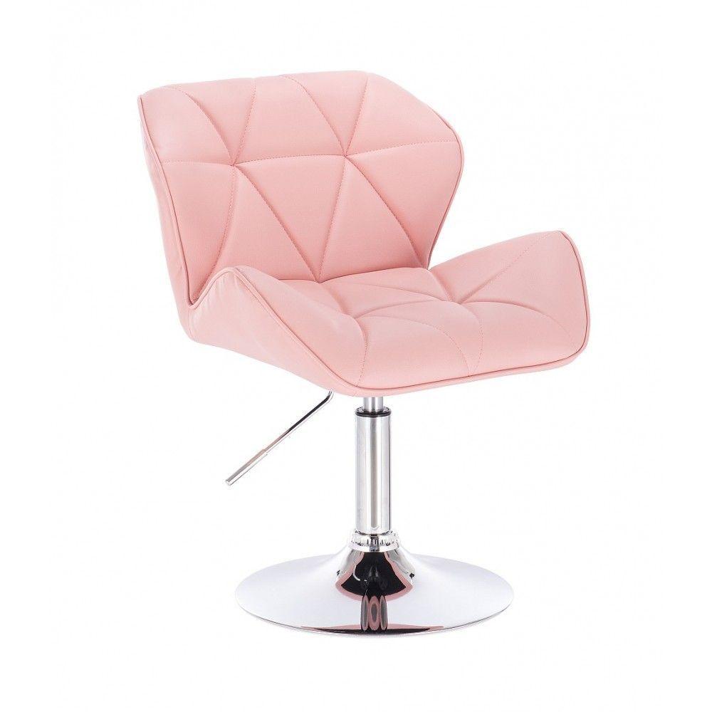 Kosmetická židle HC-111N na kulaté podstavě, růžová