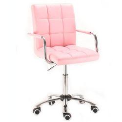 Kosmetická židle na kolečkách HC-1015KP růžová (V)