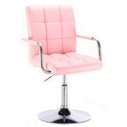Kosmetická židle na kulaté podstavě HC-1015NP růžová (V)