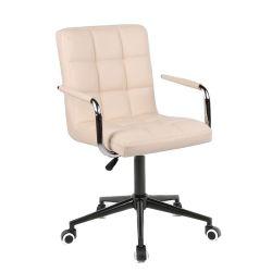 Kosmetická židle 1015KP na černé podstavě s kolečky - krémová
