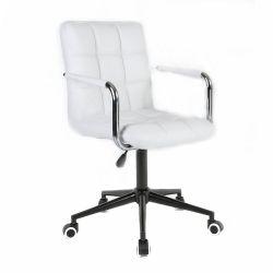 Kosmetická židle 1015KP na černé  podstavě s kolečky - bílá
