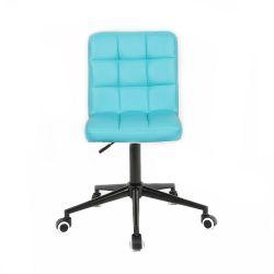Kosmetická židle HC1015K na černé podstavě s kolečky - tyrkysová