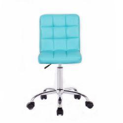 Kosmetická židle HC1015K na podstavě s kolečky tyrkysová