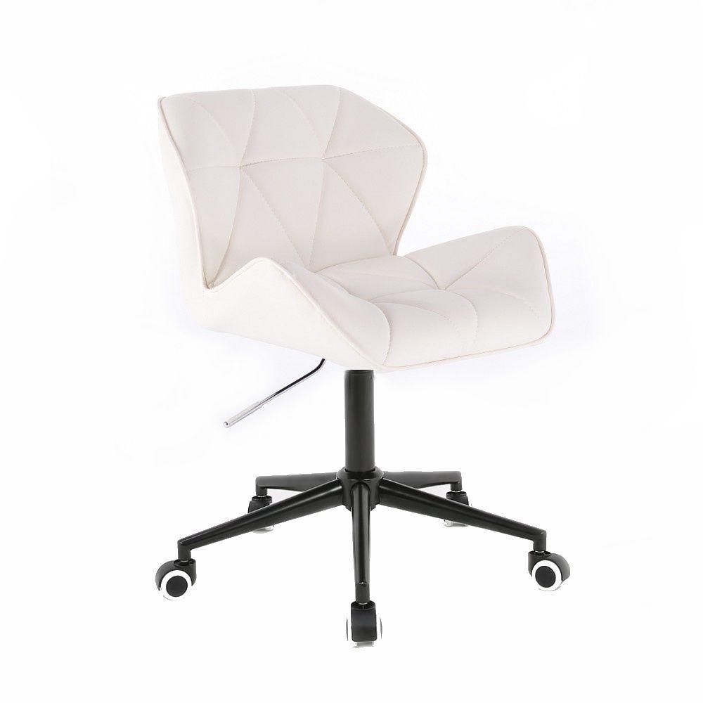 Kosmetická židle HC111K na černé podstavě s kolečky - bílá