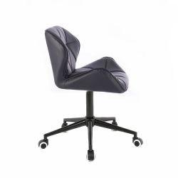 Kosmetická židle HC111K na černé podstavě s kolečky - černá