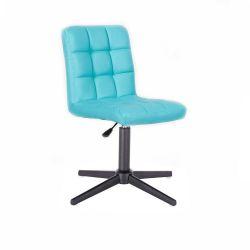 Kosmetická židle HC1015 na černém kříži - tyrkysová
