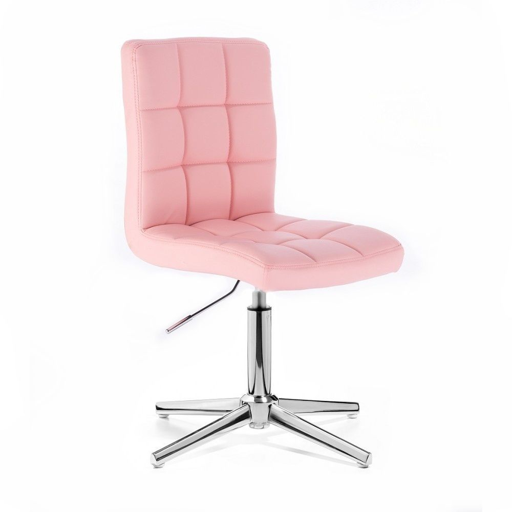 Kosmetická židle HC1015 na stříbrném kříži - růžová