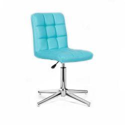 Kosmetická židle HC1015 na stříbrném kříži - tyrkysová