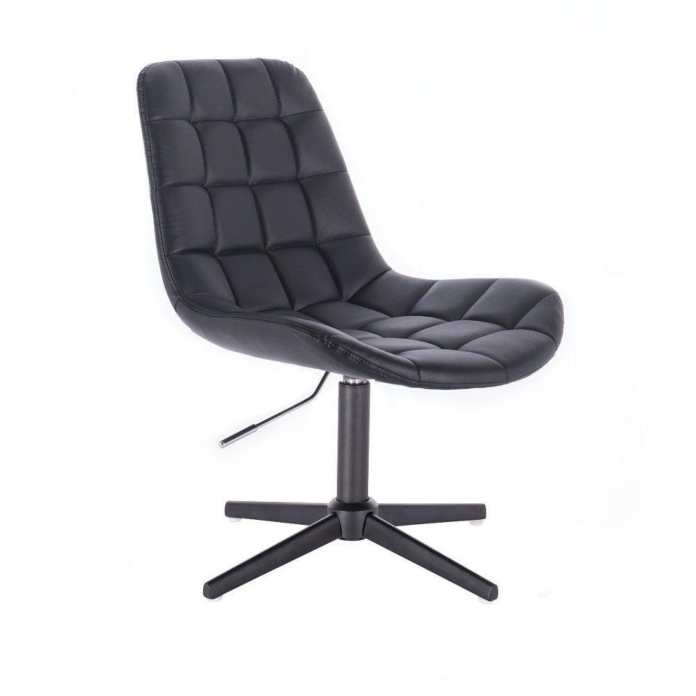 Kosmetická židle HC590 na černém kříži - černá
