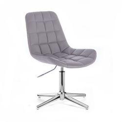 Kosmetická židle HC590 na stříbrném kříži - šedá