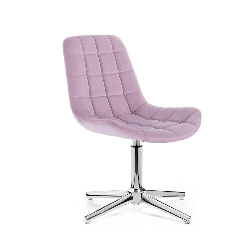 Kosmetická židle HC-590 VELUR na stříbrném kříži - fialový vřes