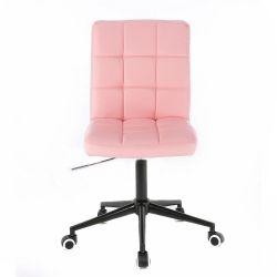 Kosmetická židle HC1015 na černé podstavě s kolečky - růžová