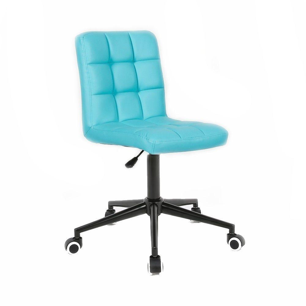 Kosmetická židle HC1015 na černé podstavě s kolečky - tyrkysová