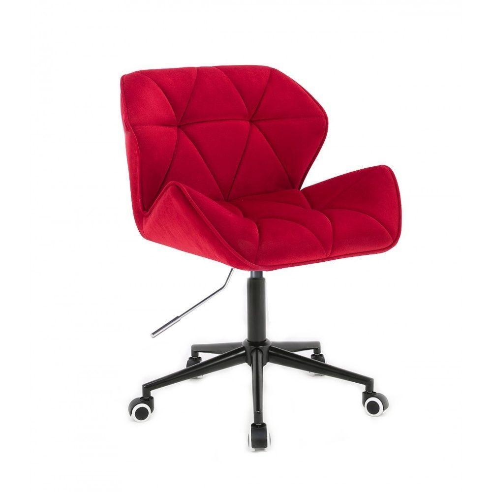 Židle HC111 VELUR na černé podstavě s kolečky - červená