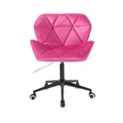 Židle HC111 VELUR na černé podstavě s kolečky - růžová