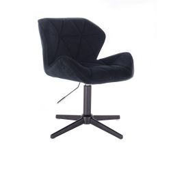 Židle HC111 VELUR na černém kříži - černá