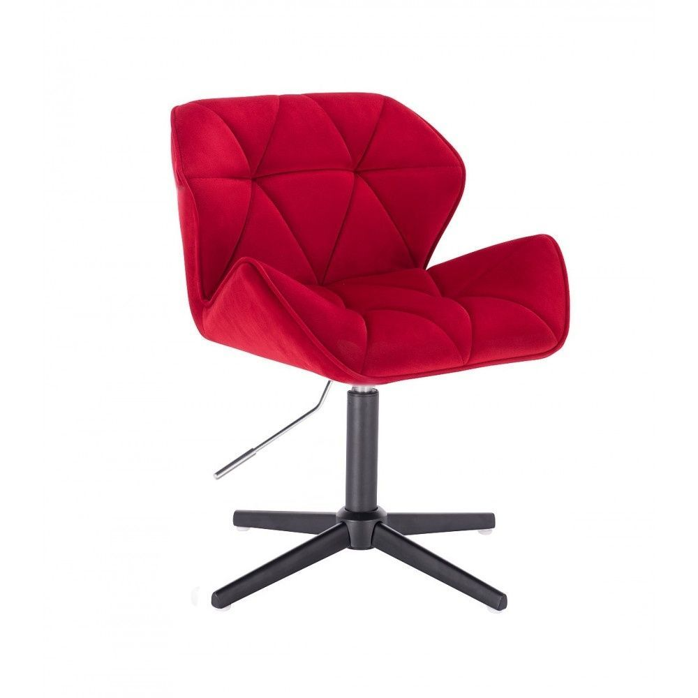 Židle HC111 VELUR na černém kříži - červená