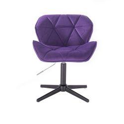 Židle HC111 VELUR na černém kříži - fialová