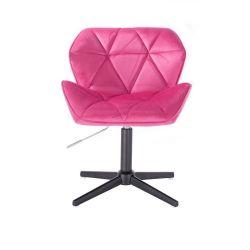 Židle HC111 VELUR na černém kříži - růžová