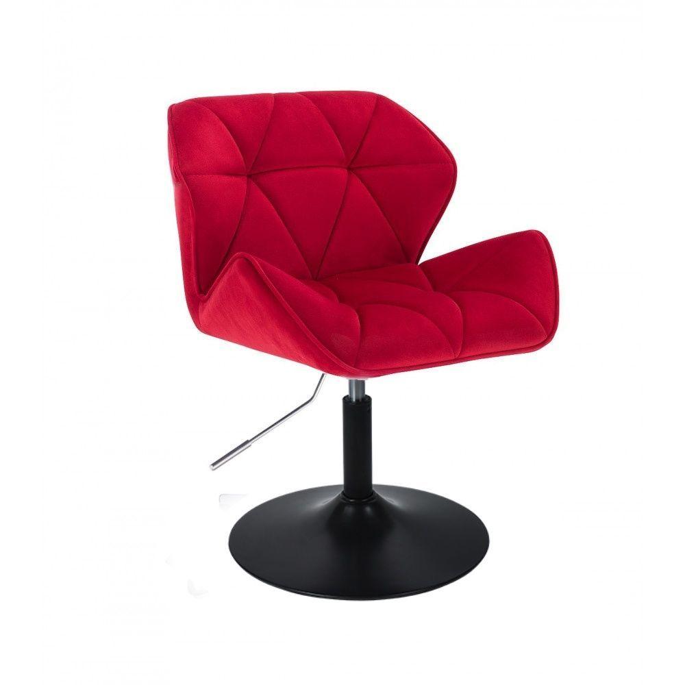 Židle HC111 VELUR na černém talíři - červená