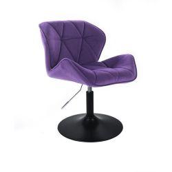 Židle HC111 VELUR na černém talíři - fialová