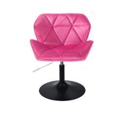 Židle HC111 VELUR na černém talíři - růžová