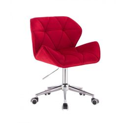 Židle HC111 VELUR na stříbrné podstavě s kolečky - červená