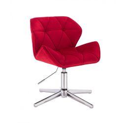 Židle HC111 VELUR na stříbrném kříži - červená