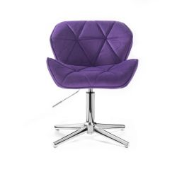 Židle HC111 VELUR na stříbrném kříži - fialová