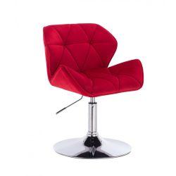 Židle HC111 VELUR na stříbrném talíři - červená