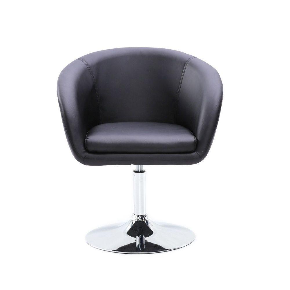 Židle HC-8326K na stříbrné kulaté podstavě - černá