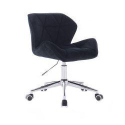 Židle HC111 VELUR na stříbrné podstavě s kolečky - černá