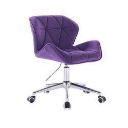 Židle HC111 VELUR na stříbrné podstavě s kolečky - fialová