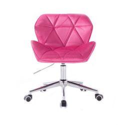 Židle HC111 VELUR na stříbrné podstavě s kolečky - růžová