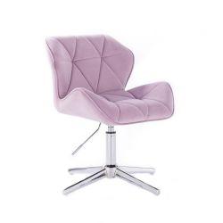 Židle HC111 VELUR na stříbrném kříži - fialový vřes