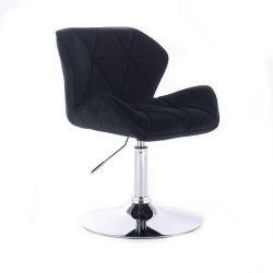 Židle HC111 VELUR na stříbrném talíři - černá