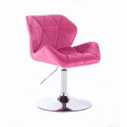 Židle HC111 VELUR na stříbrném talíři - růžová