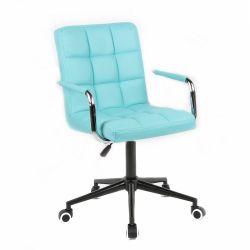 Kosmetická židle 1015KP na černé podstavě s kolečky - tyrkysová