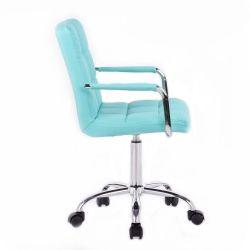 Kosmetická židle 1015KP na podstavě s kolečky - tyrkysová