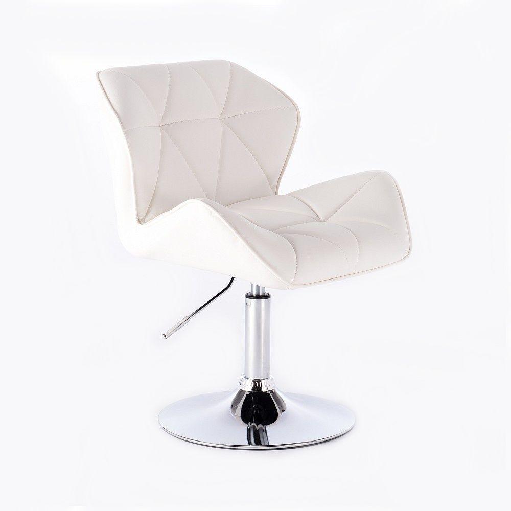 Kosmetická židle HC-111N na kulaté podstavě, bílá