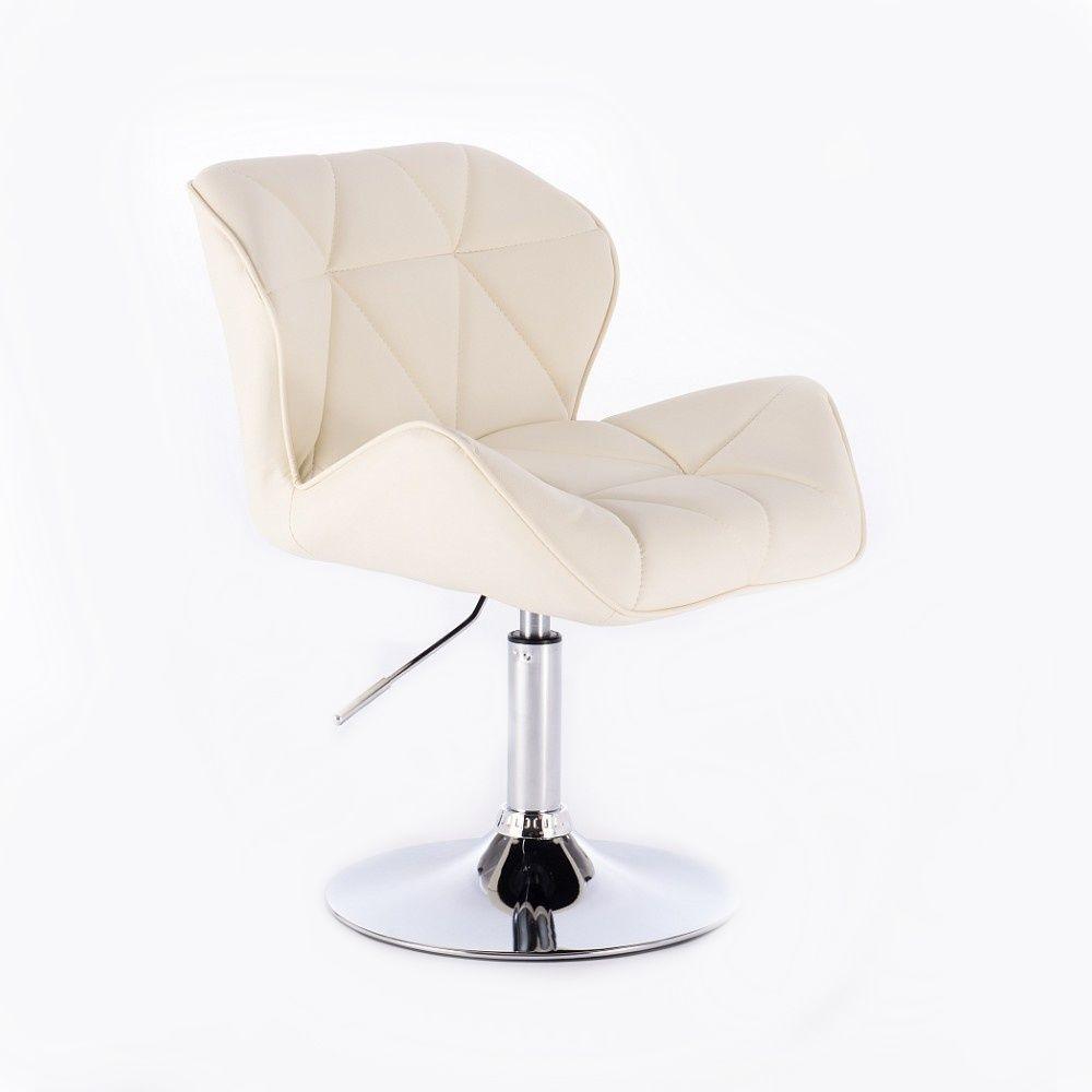 Kosmetická židle HC-111N na kulaté podstavě, krémová