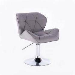 Kosmetická židle HC-111N na kulaté podstavě, šedá (V)