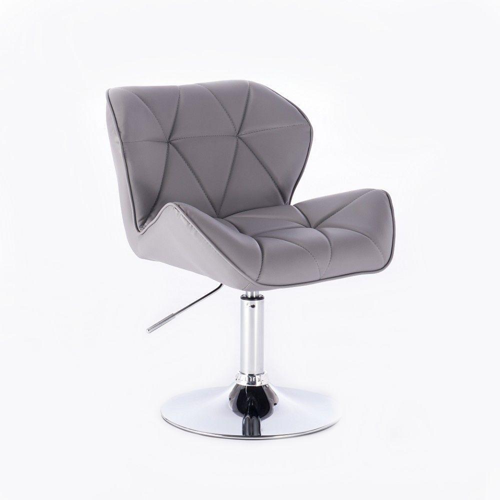 Kosmetická židle HC-111N na kulaté podstavě, šedá