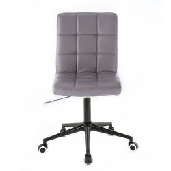 Kosmetická židle HC1015 na černé podstavě s kolečky - šedá