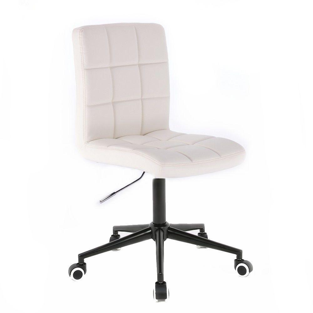 Kosmetická židle HC1015 na černé podstavě s kolečky - bílá