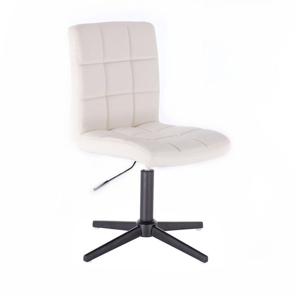 Kosmetická židle HC1015 na černém kříži - bílá